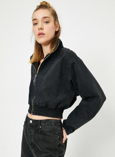 Koton Fermuar Detaylı Uzun Kollu Fermuar Detaylı Jean Ceket Siyah